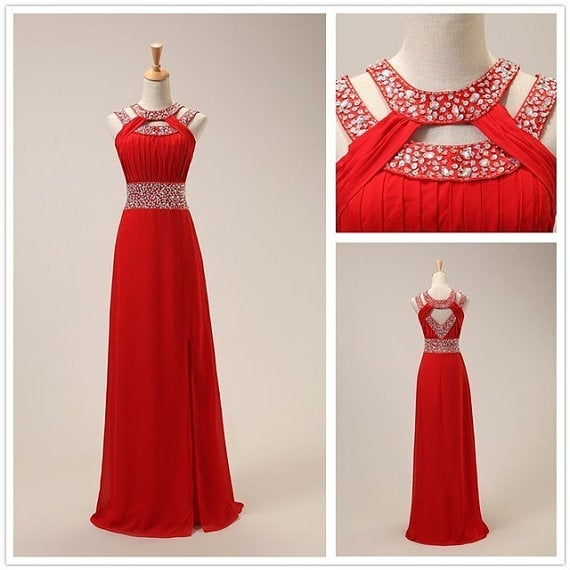 Lovely Red Handmade Chiffon Long Prom Dress with Sequins, Prom Gowns, Party Dresses