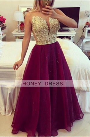Image of  Burgundy V Neck Sheer Back Prom Dress With Beaded Lace Appliques Bodice