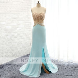 Image of New Arrival Mint Chiffon Golden Lace Appliques Slit Evening Gown With Cut Outs
