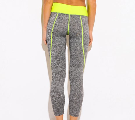 Image of CCC NEON YELLOW AND GREY HIGH WAISTED LEGGINGS