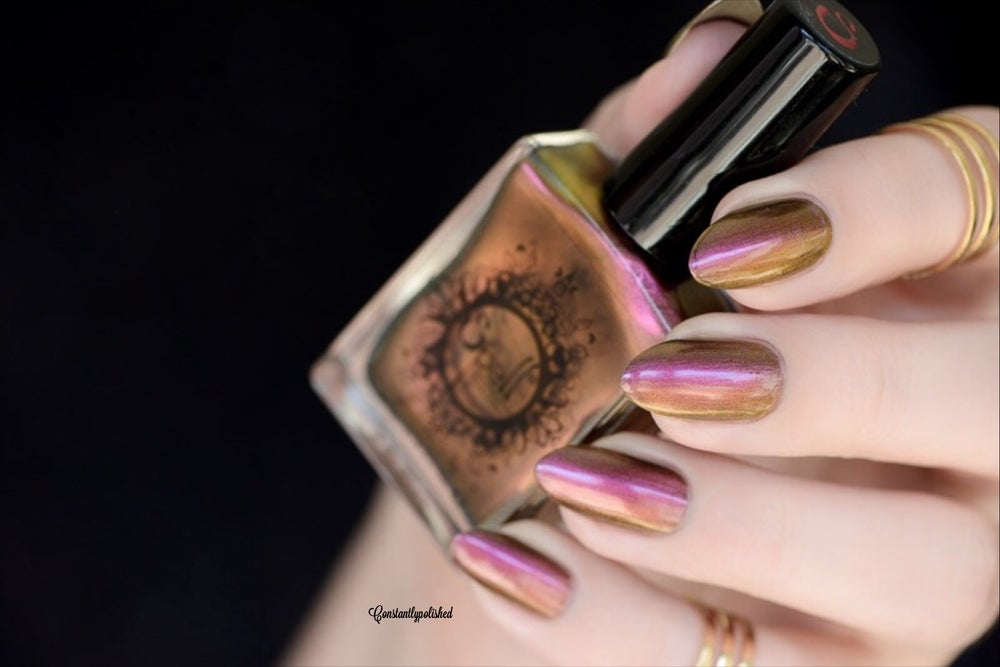"Image of ~Old Fogey~ burgundy/gold/green multichrome Spell nail polish ""Revenge of the Duds""!"