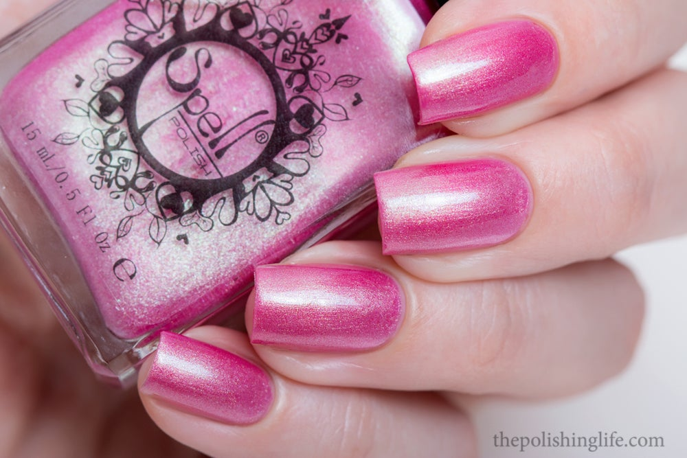 Stooge~ pink/green duochrome frost w/flakies Spell nail polish ...