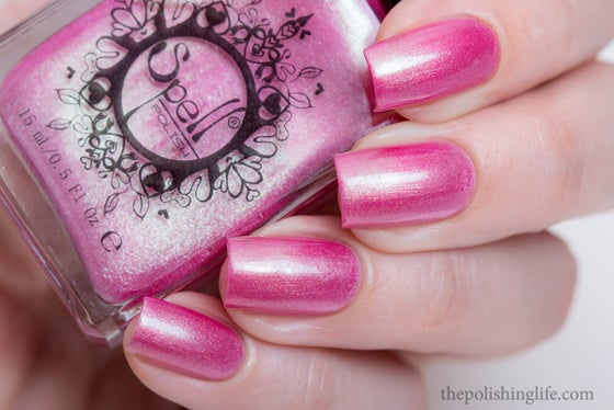 "Image of ~Stooge~ pink/green duochrome frost w/flakies Spell nail polish ""Revenge of the Duds""!"