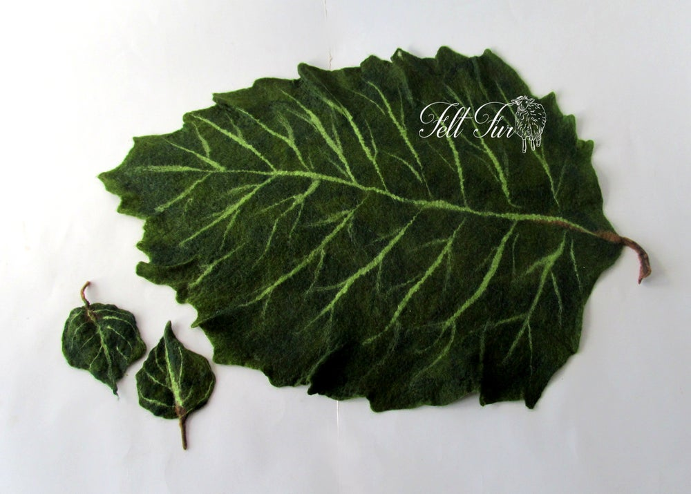Image of Newborn Prop felt leaf, layering blanket , felted leaf layer felted mat Felt Mat