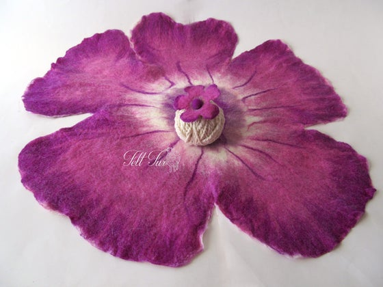 Image of Newborn Prop basket filler, layering blanket , felted flower layer felted mat