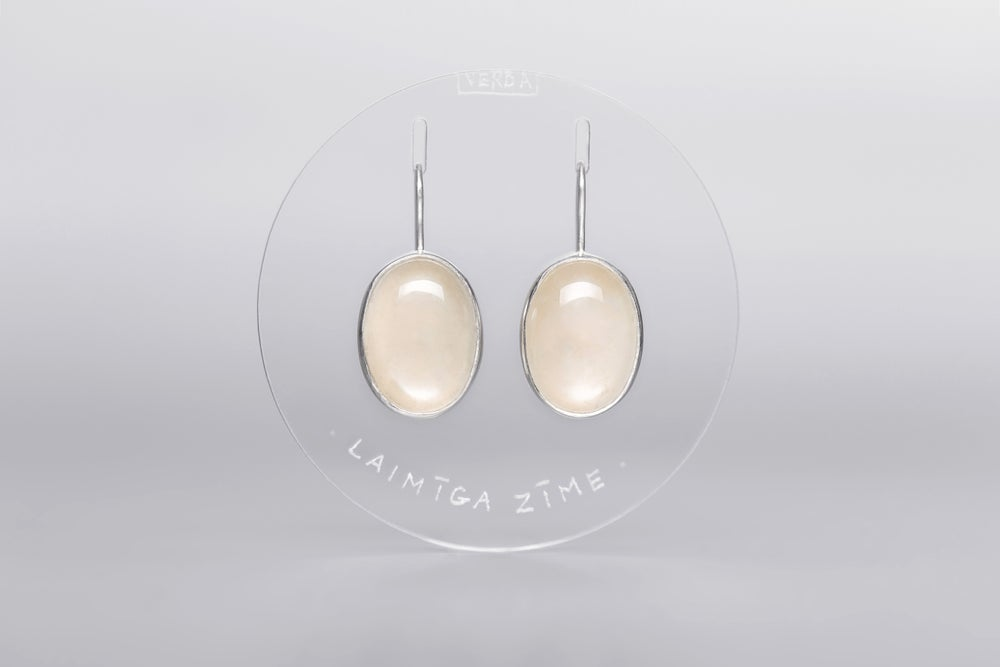 """Image of """"Happy sign"""" silver earrings with moonstone  · OMEN FAUSTUM ·"""