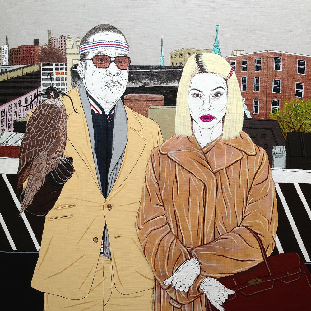 Image of jay z and beyonce in the royal tenenbaums as the royal family