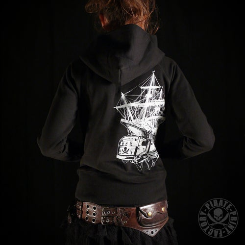 Image of Sweat capuche zip Pirate Boat Girly Noir