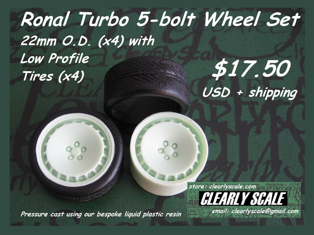 Image of Ronal Turbo 5-bolt 22mm Wheels + Tires Set