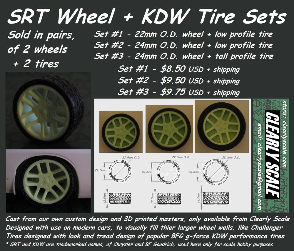 Image of SRT Style Wheels + KDW Tires Sets (Pairs)