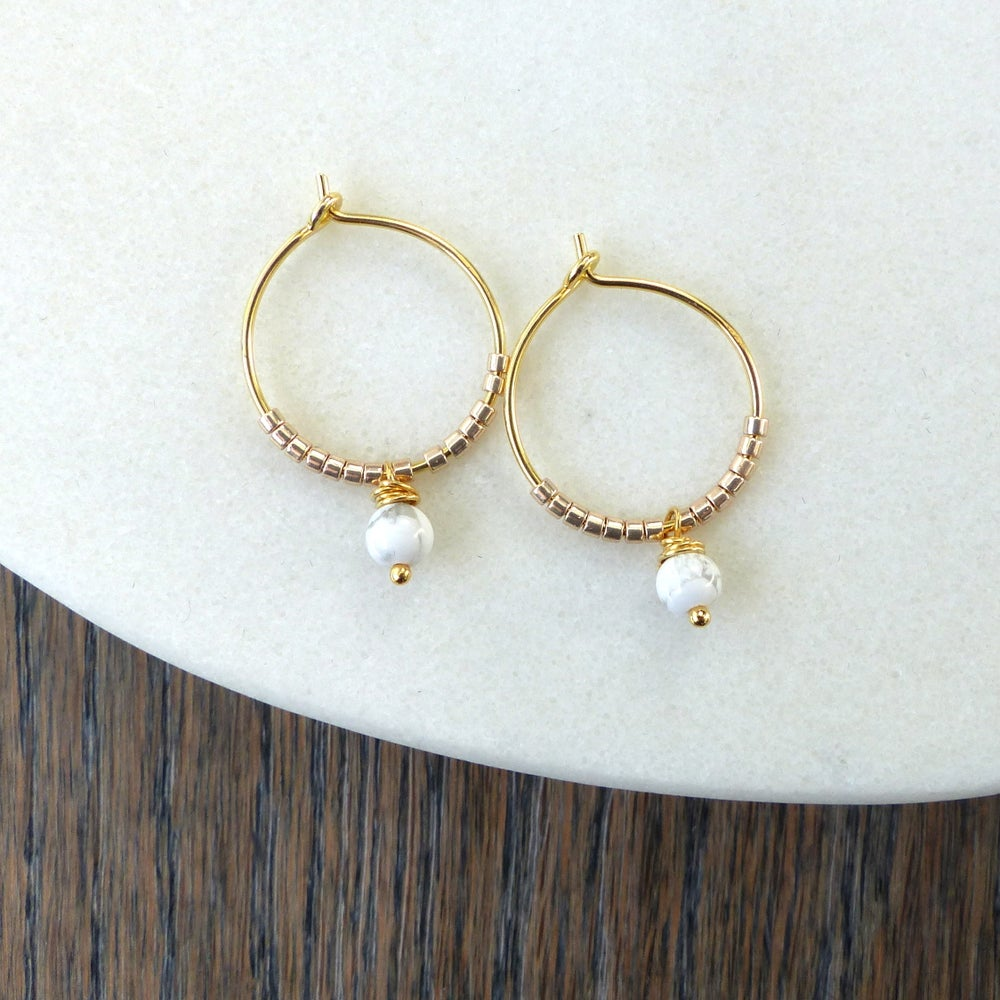 Image of Howlite Marble Hoop Earrings