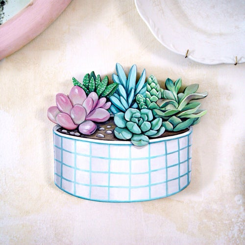 Image of Potted Succulent Garden wood cut out plaque