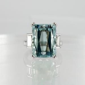 Image of Large Aquamarine Cocktail Dress Ring.