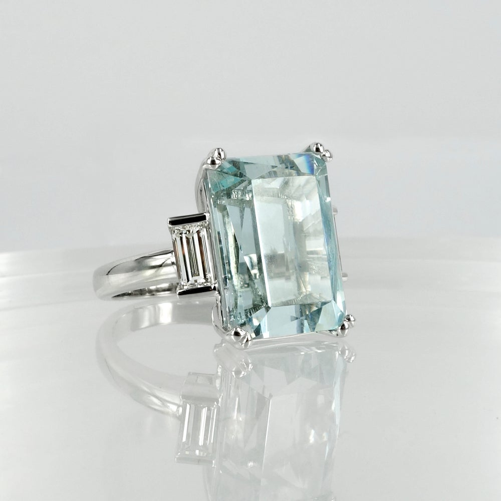 Image of Large Aquamarine Cocktail Dress Ring.