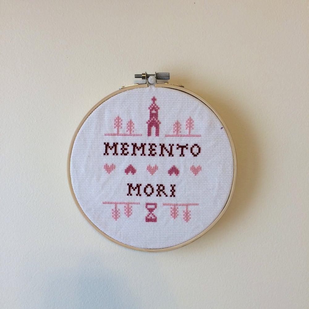 Image of MEMENTO MORI CROSS STITCH SAMPLER