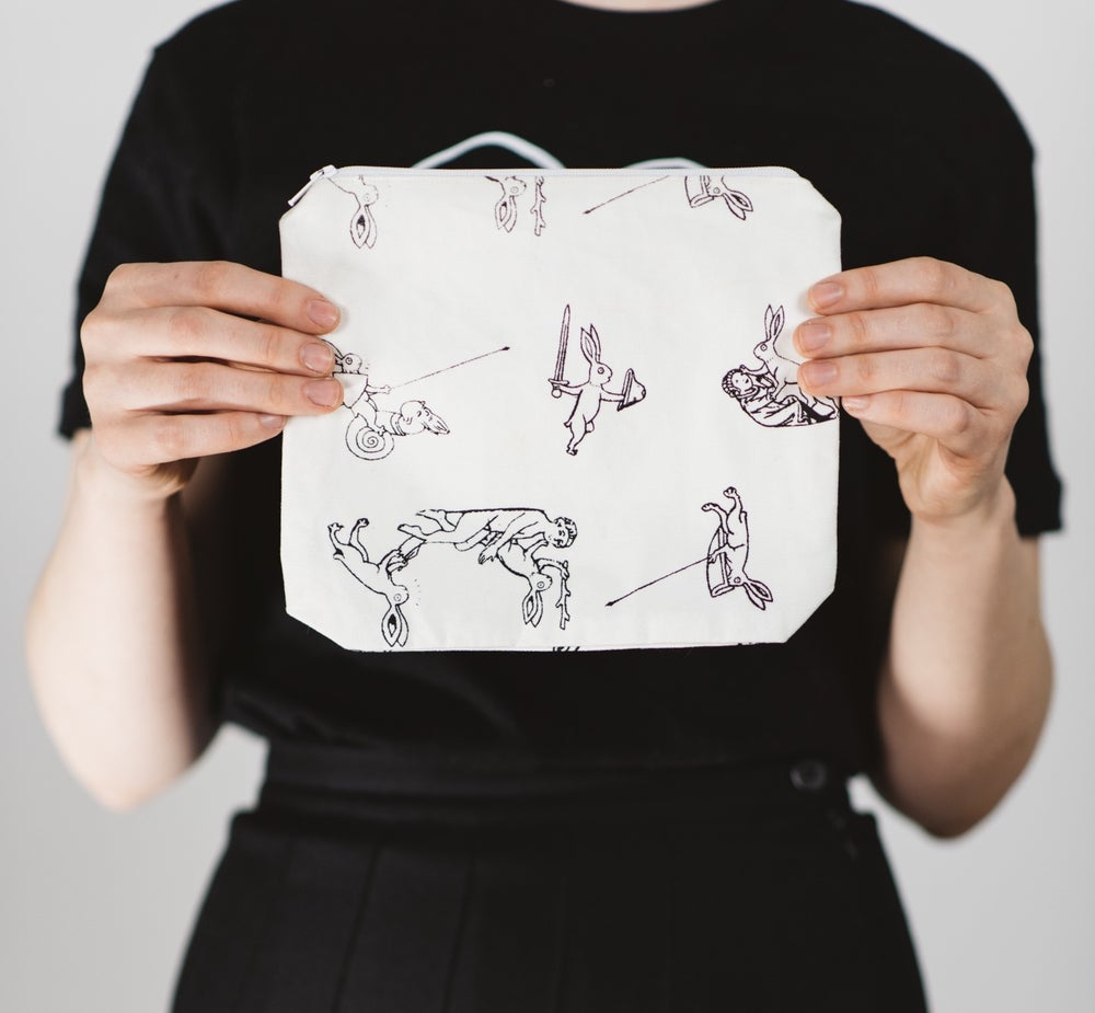 Image of MEDIEVAL RABBIT ZIP POUCH