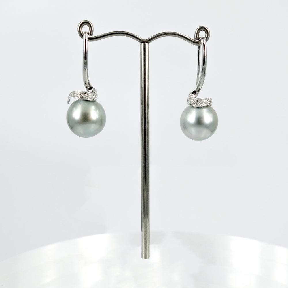 Image of 18ct White Gold & Diamonds Beautiful Tahitian Pearl Drop Earrings