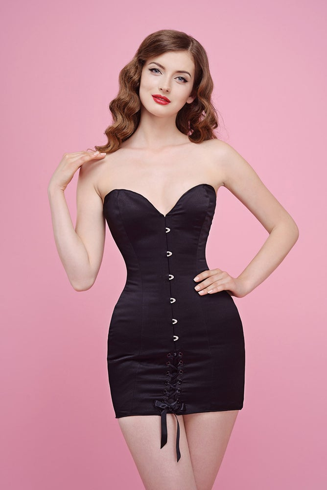 Image of HELENA BASIC DRESS BLACK SATIN