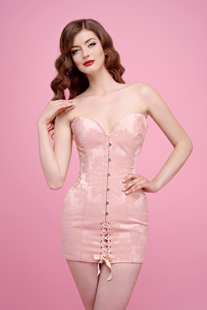 Image of HELENA BASIC DRESS PALE PINK BROCADE
