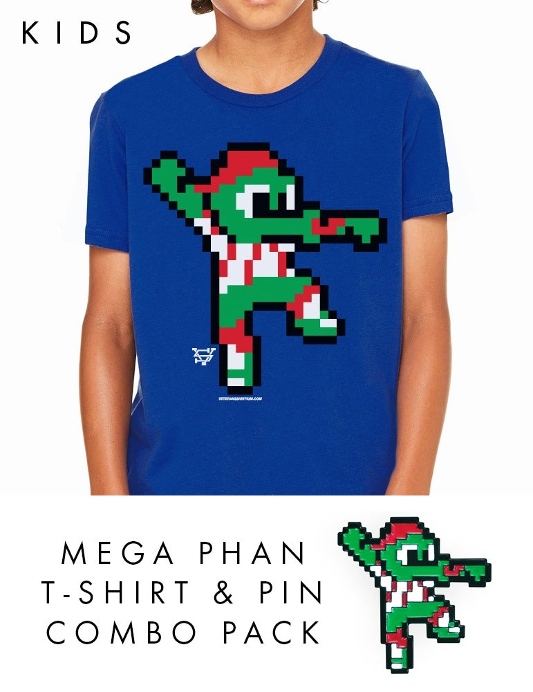 Image of Kid's Mega Phan T-Shirt & Pin Combo Pack
