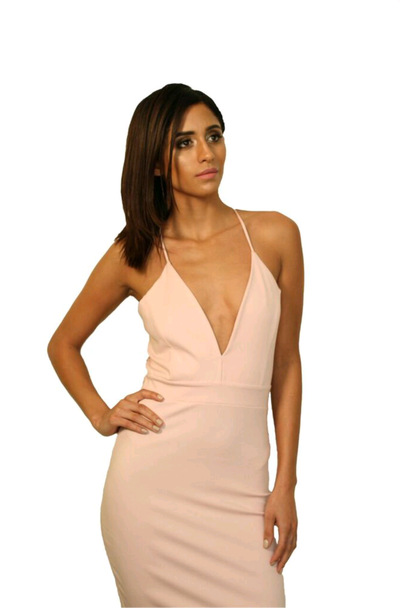 Image of Antique Pink Deep-V Dress With Racer Lace Back