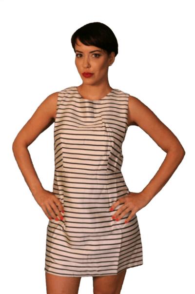 Image of Horizonal Striped Black & Tan Cocktail Dress