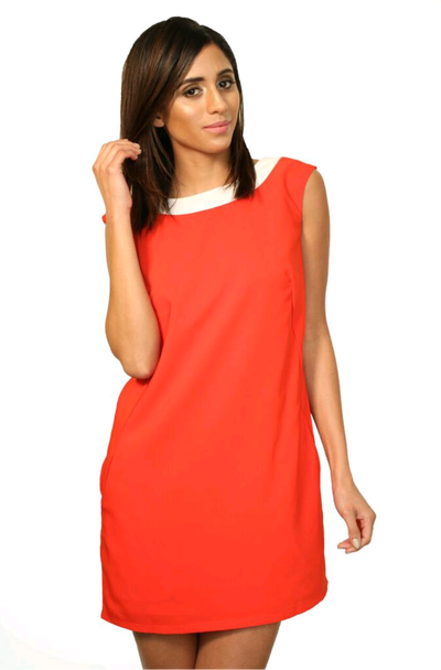 Image of  Boat Neck Red Dress