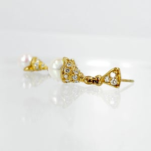 Image of 18ct Yellow Gold Akoya Pearl & Diamond Drop Earrings
