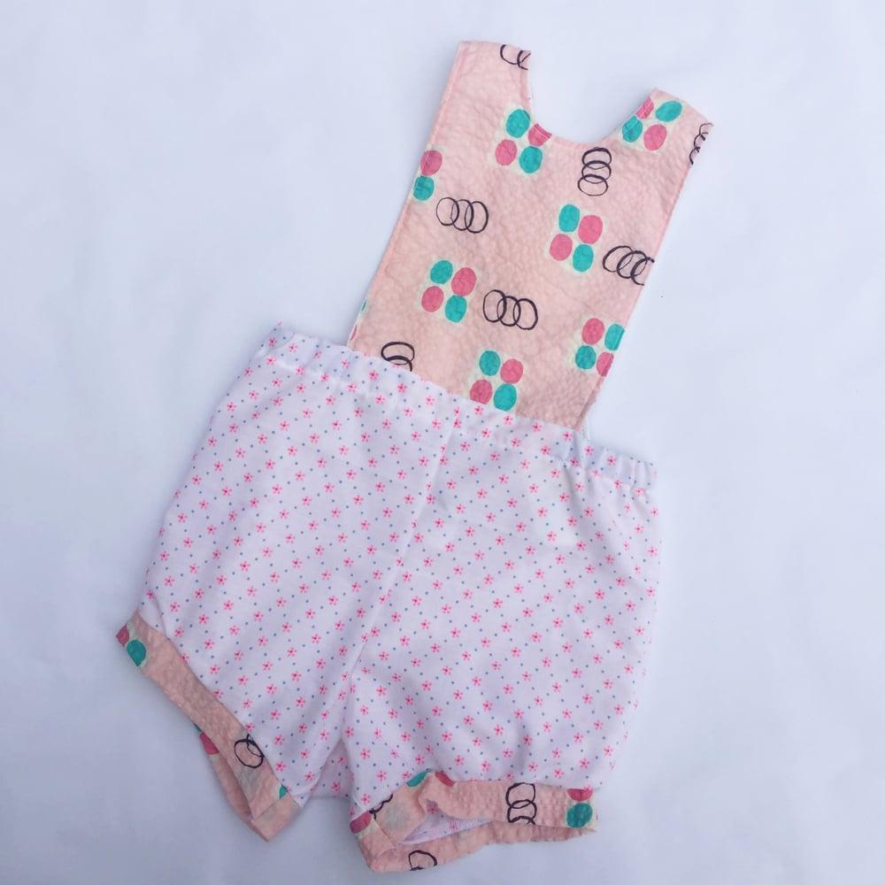 Image of Baby romper - size 00 - pink seersucker