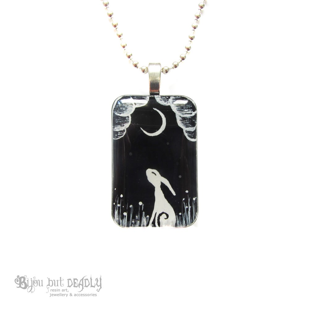 Moon Gazing Hare Resin Pendant