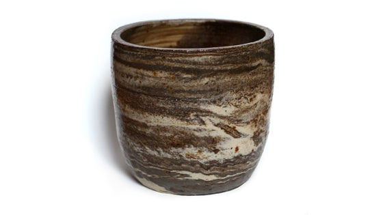 Image of Brown and white marbled stoneware pot #1