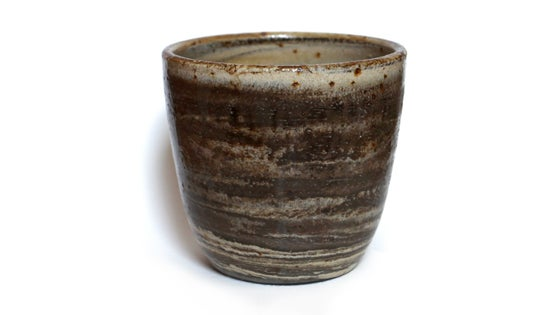 Image of Brown and white marbled stoneware pot #2