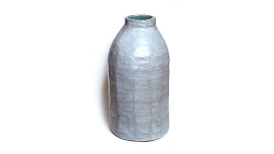 Image of White and turquoise hand built stoneware bottle