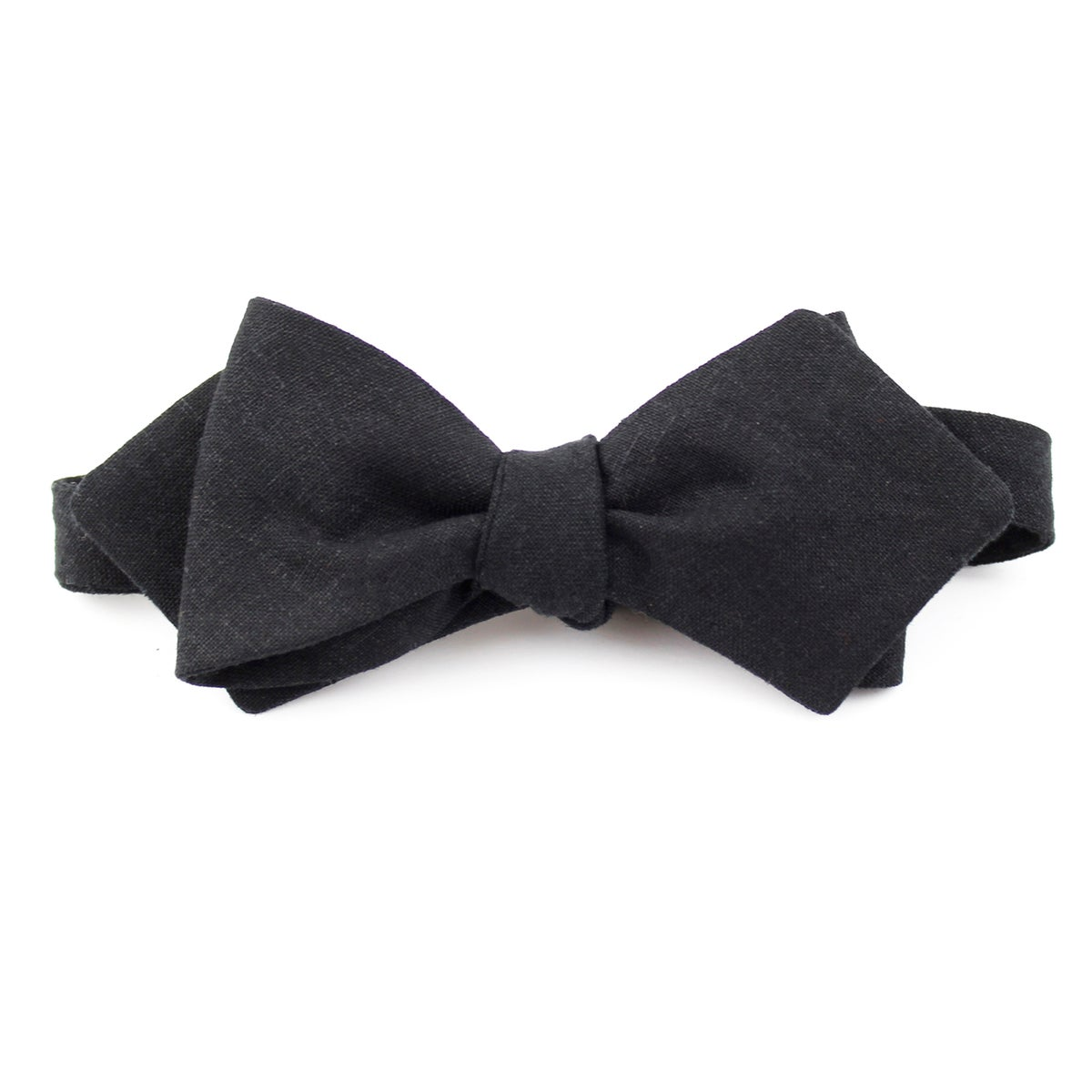 Image of Black Linen Pointed Bow Tie
