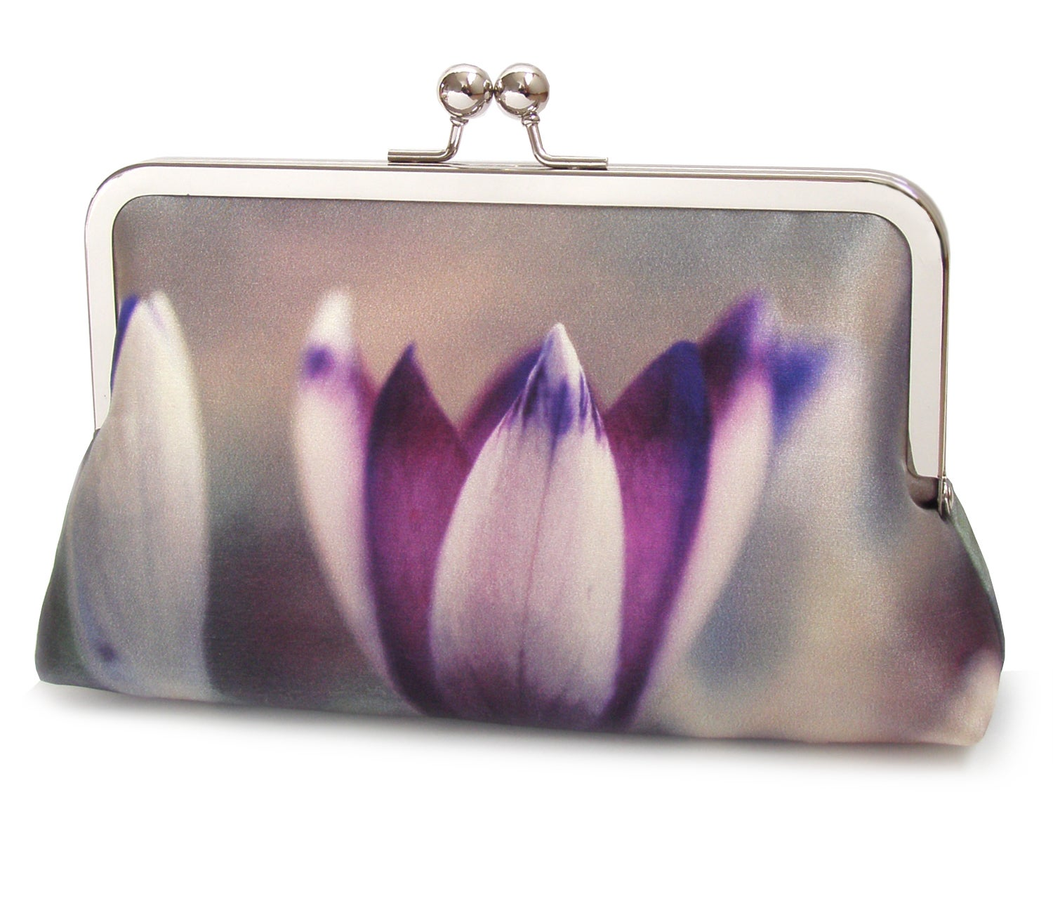 Image of Purple crocus petals clutch bag, silk purse, pink lilac handbag