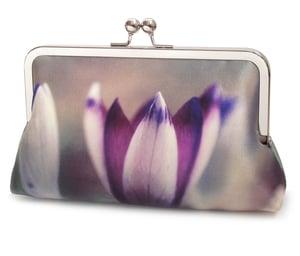 Crocus petals clutch bag, silk purse, purple flower handbag - Red Ruby Rose
