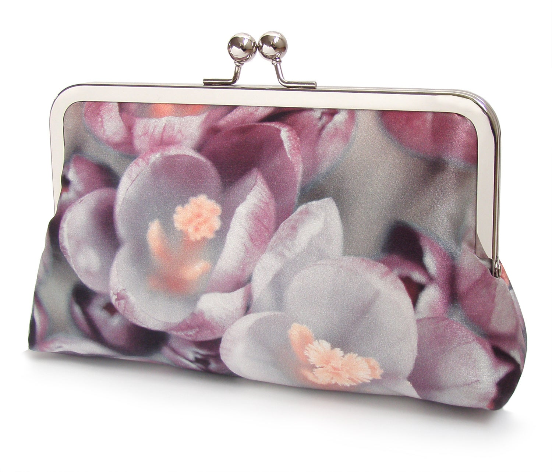 Image of Crocus flower clutch bag, pink silk purse