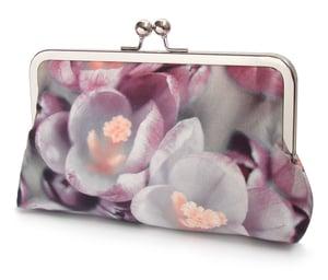 Crocus flower clutch bag, pink silk purse - Red Ruby Rose
