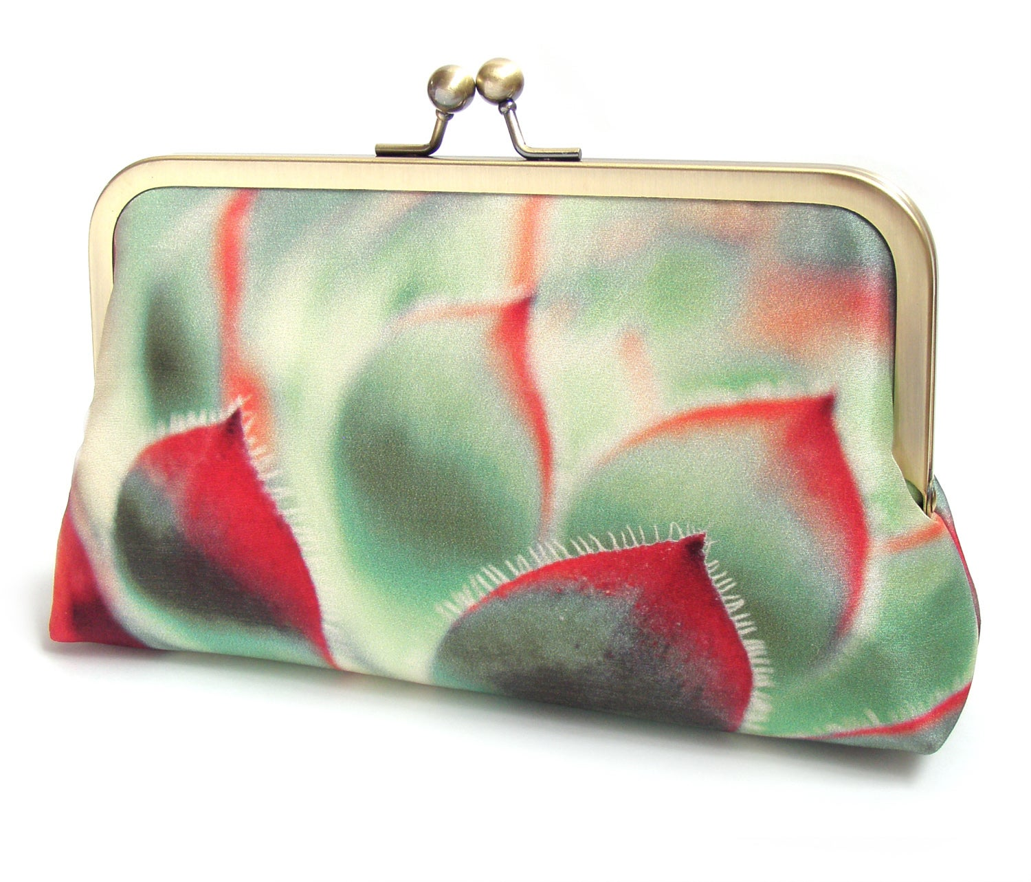 Image of Clutch bag, succulent silk purse, red and green cacti bag