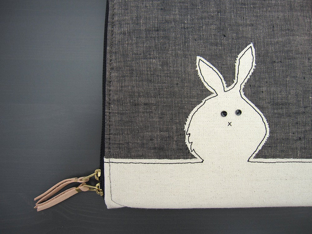Image of Laptop Case - Black Bunny/White Rabbit