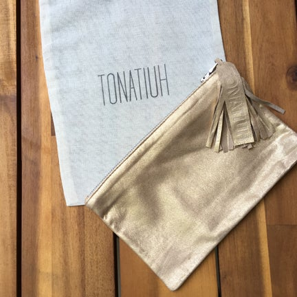 Image of TONATIUH GOLD METALLIC LAMBSKIN CLUTCH