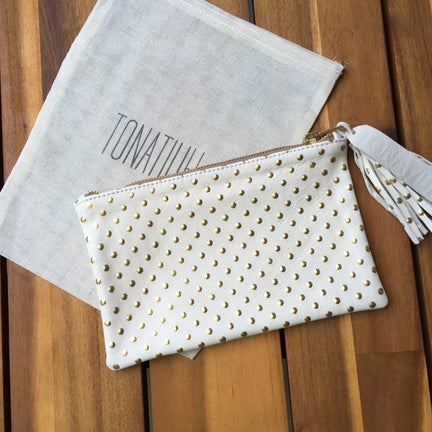 Image of TONATIUH GOLD METALLIC DOT LAMBSKIN CLUTCH