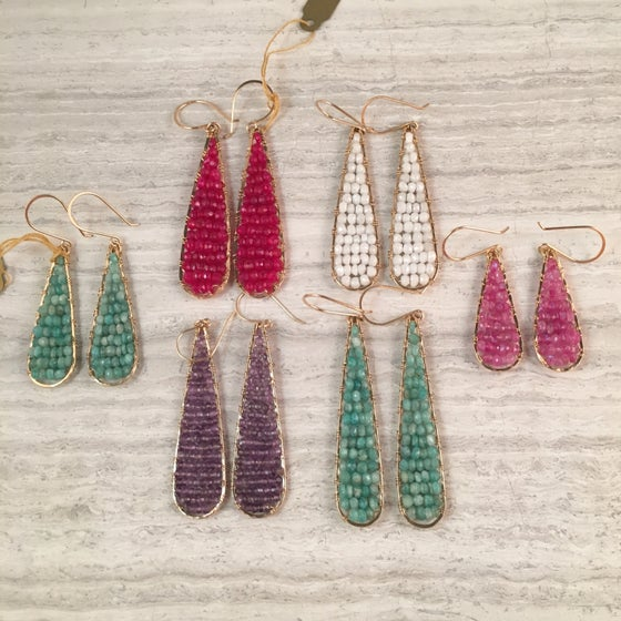 Image of beaded teardrop earrings