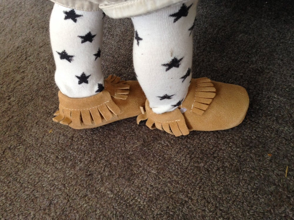 Image of Desert Tan Suede Baby Moccasins