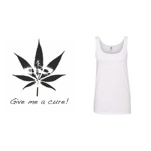"Image of TIS Potleaf ""Give Me A Cure""  WOMEN's TANK TOP *"