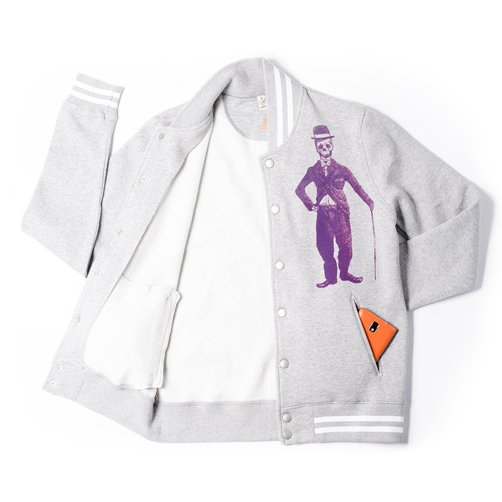 Image of Chaplin Grey Striped Varsity Jacket (Organic)