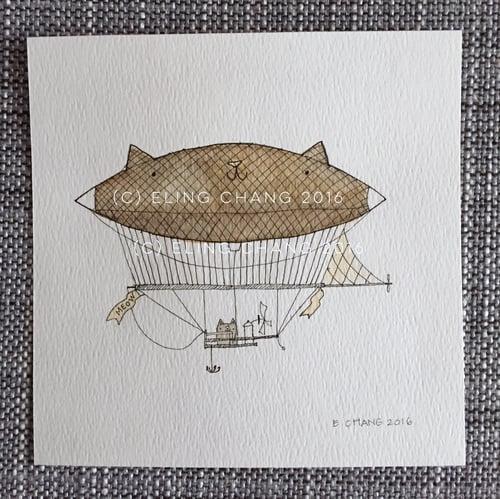 Image of dirigibles // original 5x5 illustrations