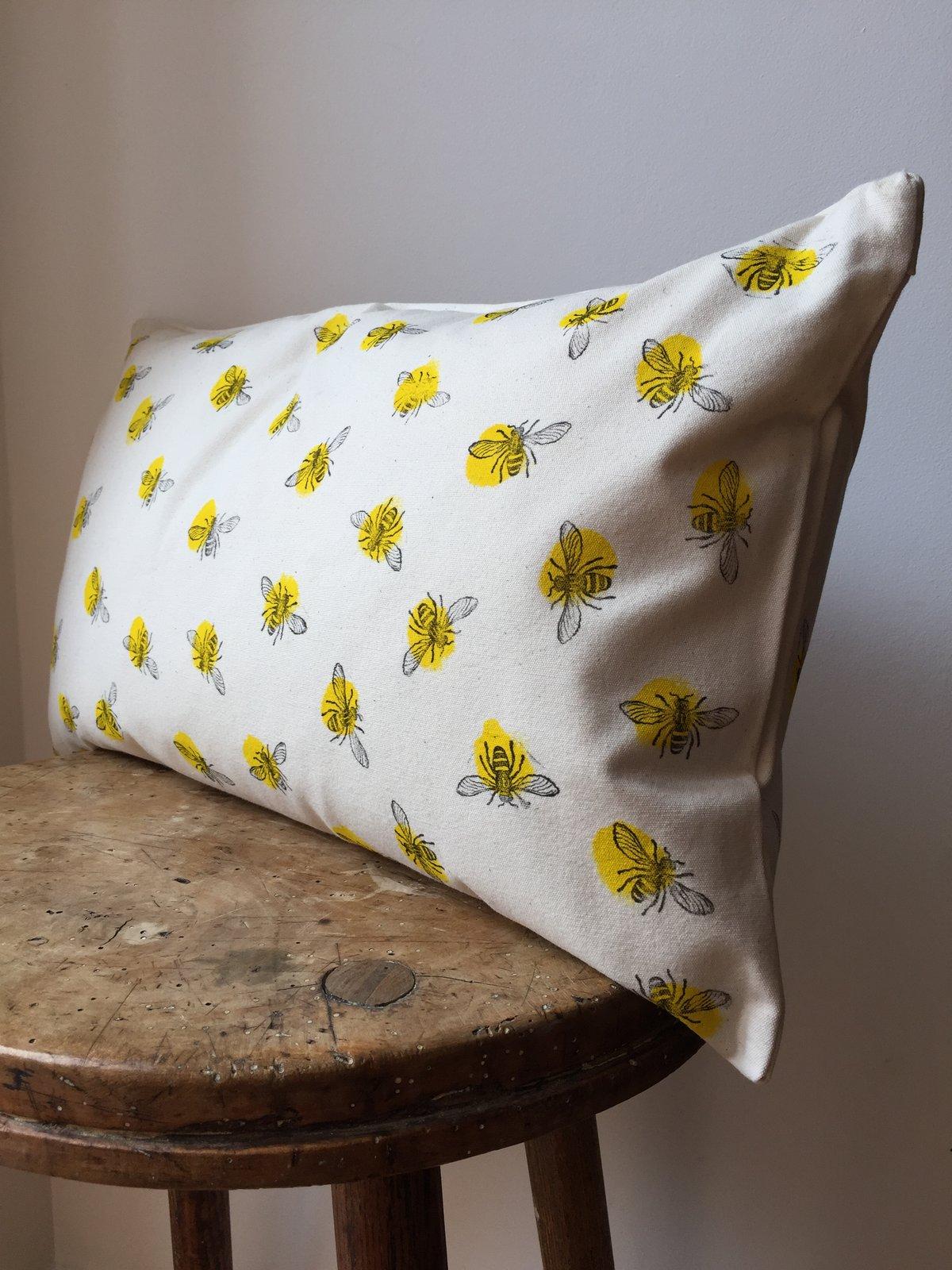 Bee Print Rectangular Cushion Hand Printed In Manchester