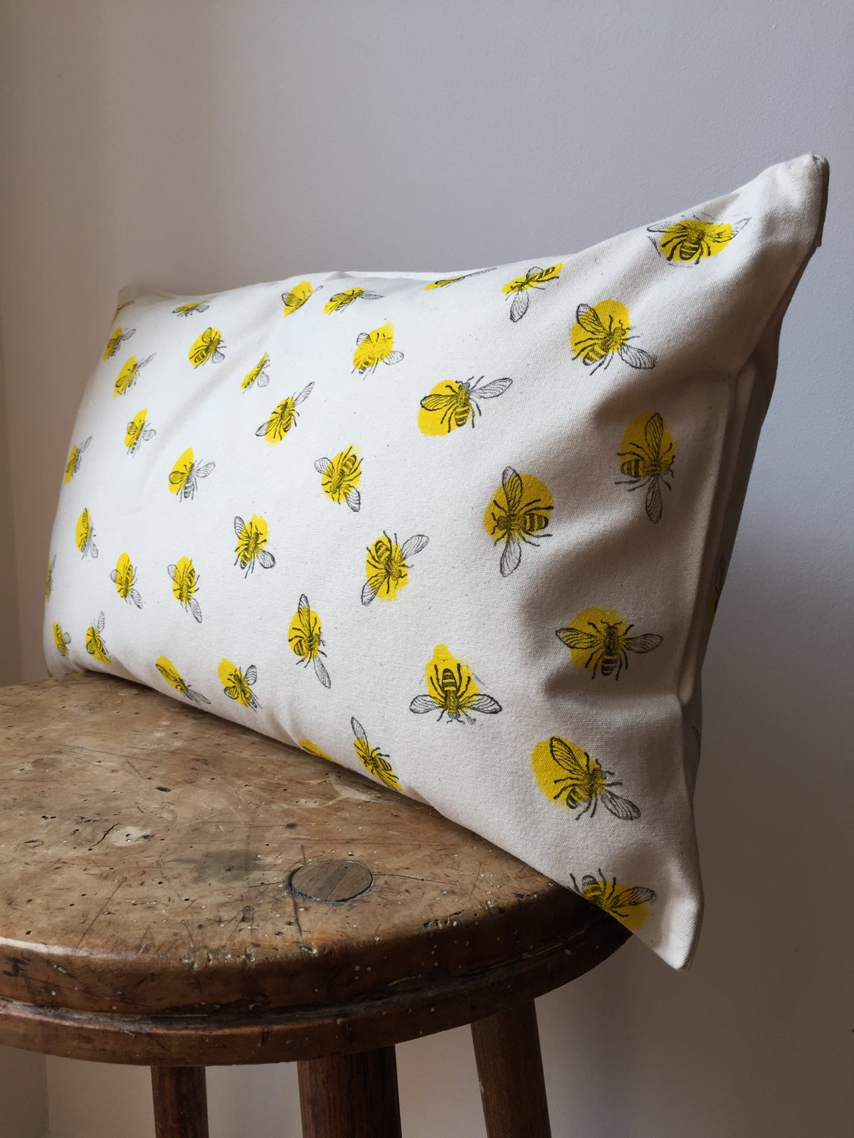 Image of Bee Print Rectangular Cushion - Hand Printed in Manchester UK