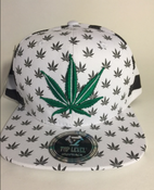 Image of GREEN WHITE STRIPE KUSH SNAP BACK HAT